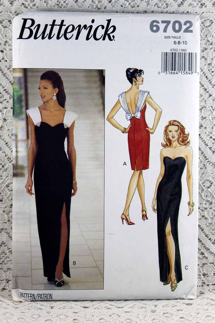 Butterick 6702, Misses' Dress Sewing Pattern, Evening Dress Pattern, Prom Dress Pattern, Easy Sewing Pattern, Misses' Size 6, 8, 10, Uncut by Allyssecondattic on Etsy