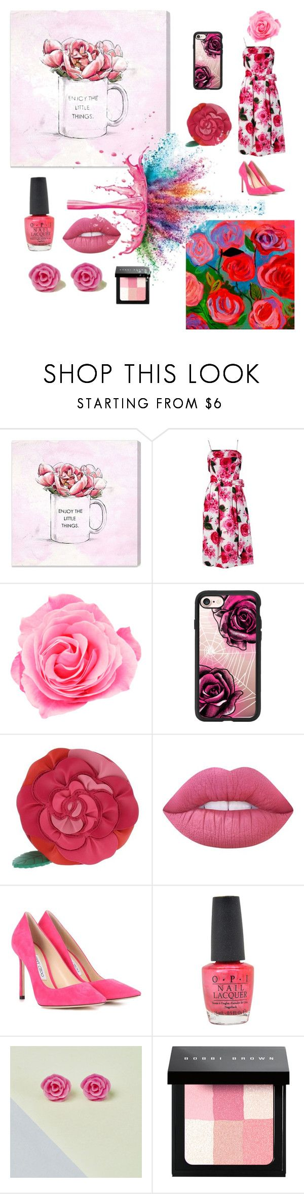 """""""ROSE"""" by jules16280 ❤ liked on Polyvore featuring Oliver Gal Artist Co., Casetify, Kate Spade, Lime Crime, Jimmy Choo, OPI, Bobbi Brown Cosmetics and Givenchy"""