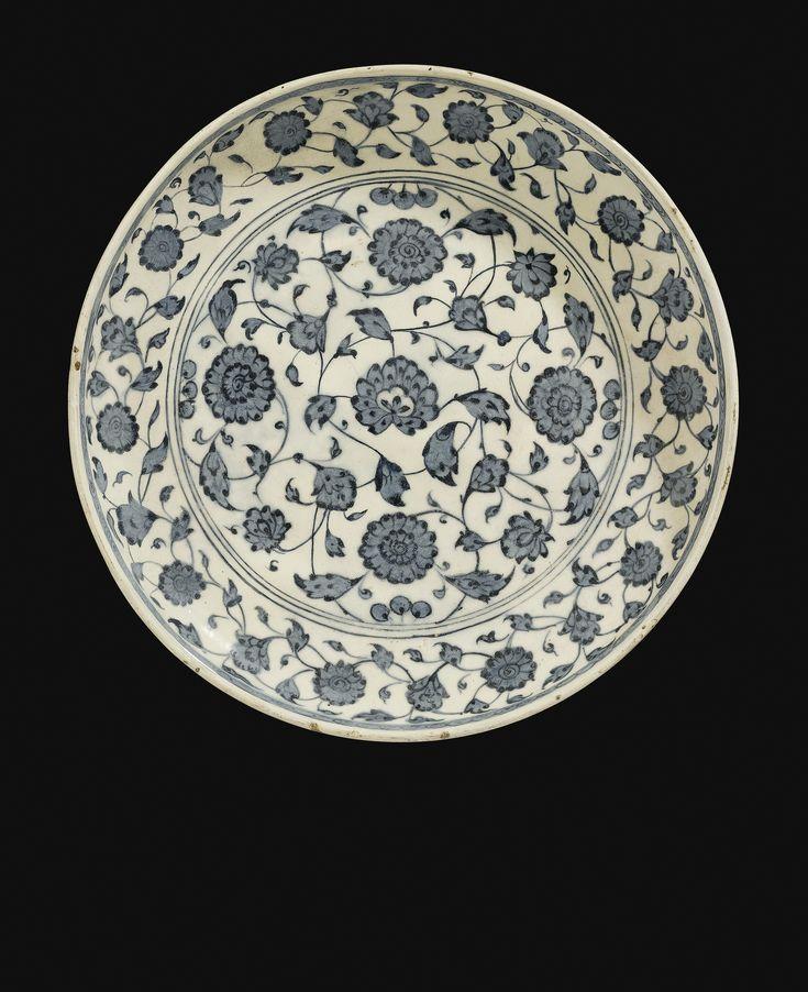 An Iznik Blue and White shallow dish, Turkey, circa 1570-80