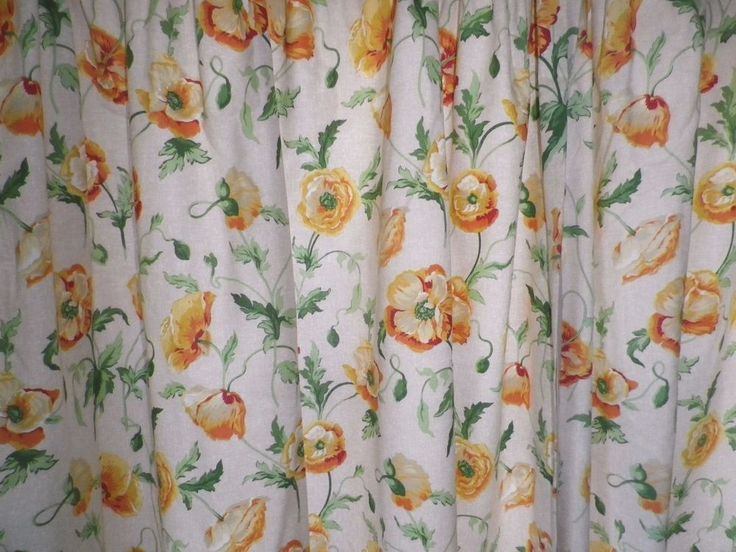 Vintage Laura Ashley Lined Cotton Curtains 'Freshford' Yellow Poppies #LauraAshley #Traditional