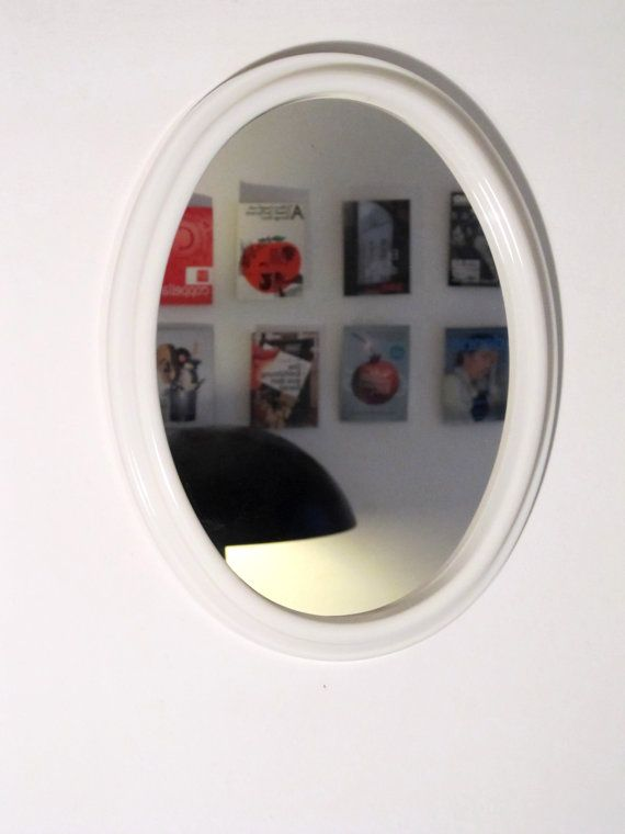 Vintage white cream small Oval Mirror from the 70s by LaLanterne