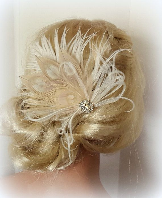 Check out this item in my Etsy shop https://www.etsy.com/listing/261028162/champagne-ivory-feather-fascinator