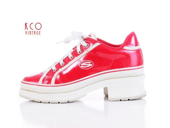 Skechers Platform Sneakers Shiny Red