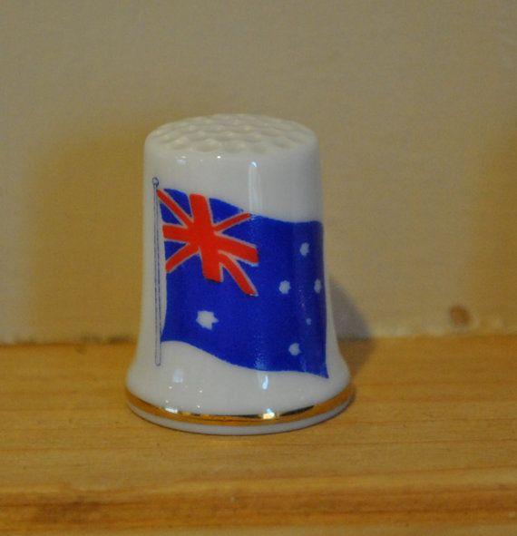 Vintage vlag van Australië - China vingerhoed - souvenir - toeristische