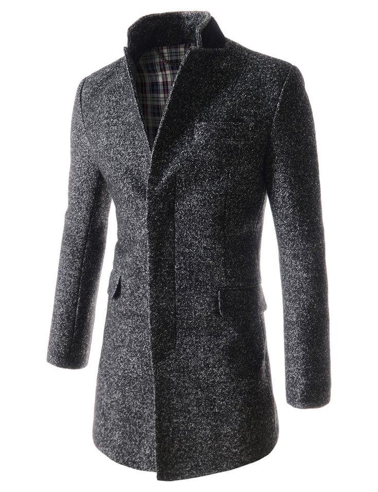 (NIFC1035-BLACK) Mens Slim Fit China Collar Patch Fur Point Single 3 Button Long Coat