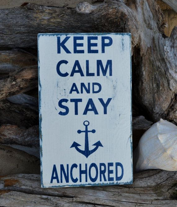 Beach Sign Anchor Decor Keep Calm And Stay by CarovaBeachCrafts, $30.00