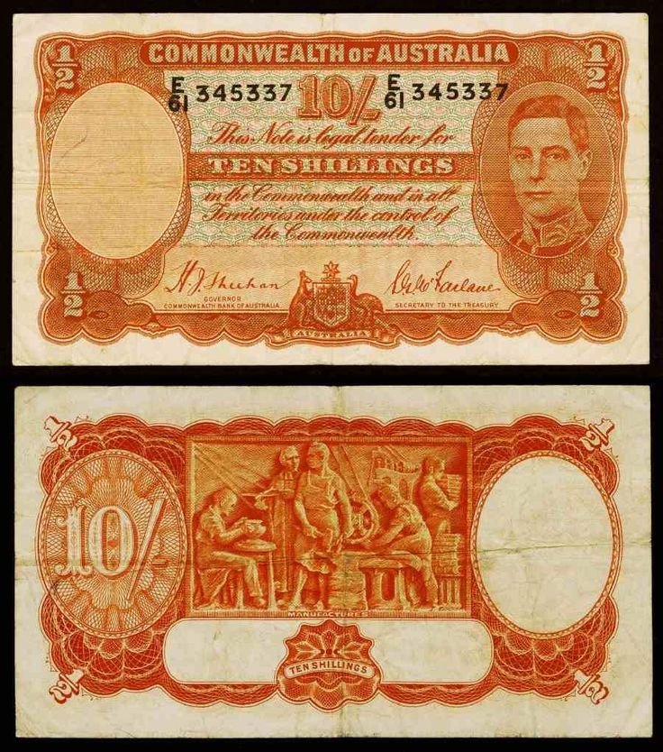1939 Australia 10 Shillings Or Half Pound Banknote Pick Number 25a King George VI Nice Fine or Better