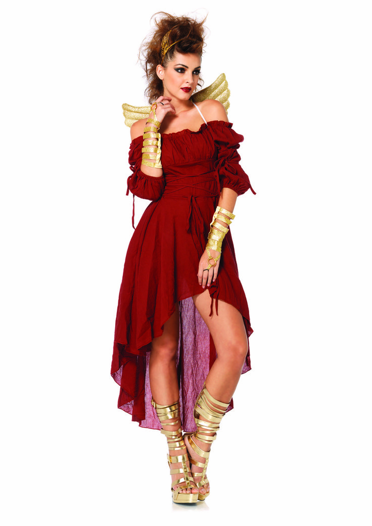 the mystical goddess costume includes a tattered burgundy dress with off the shoulder peasant sleeves tie up detail golden wings gold strappy wrist cuffs - Mystical Halloween Costumes
