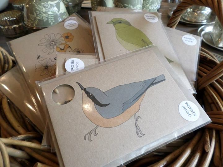 We love these gorgeous bird seed filled recycled paper greetings cards from designer Kate Broughton