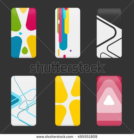 Set mockup covers for smartphone. Template case or sticker for technology device, branding, advertising, business and corporate identity. Vector illustration mobile phone.