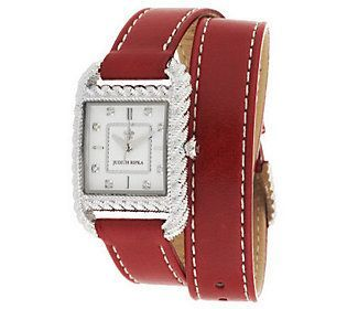 Judith Ripka Stainless Steel & Leather Strap Wrap Watch