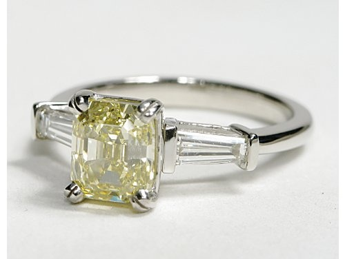 Tapered Baguette Diamond Engagement Ring in Platinum #BlueNile: Pandora Style, Canary Diamond, Baguette Diamond, Style Beads, Engagement Ring
