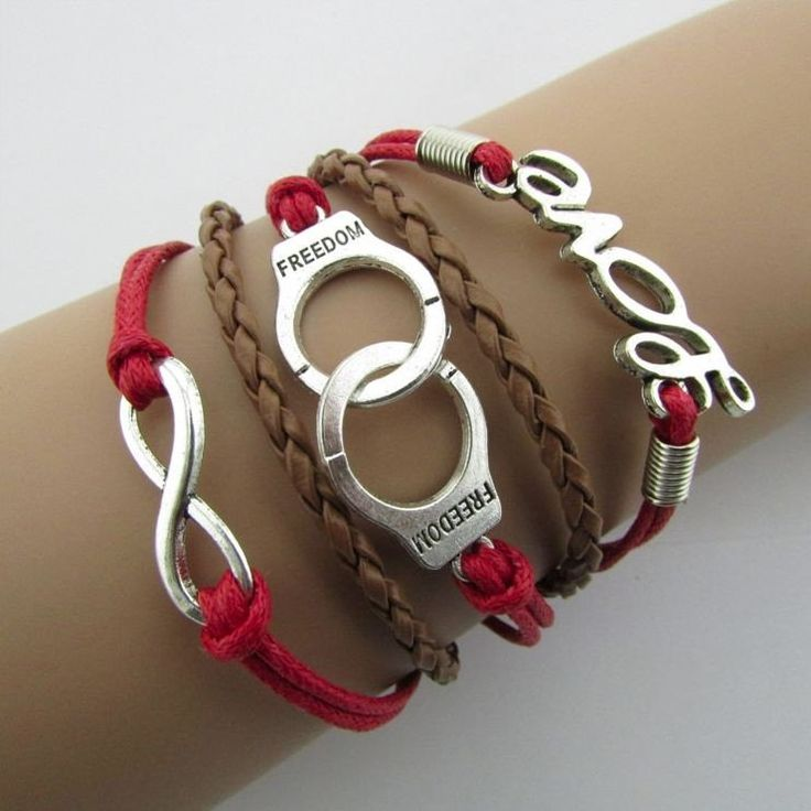 Handcuffs word fashion beautiful hand-knitted multi-strand leather bracelet  wholesale five Christmas (Mainland))