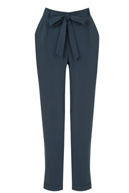 This pair of relaxed tailored trousers sits on the waist and features belt loops, matching self-tie belt, zip-fly fasting, two side pockets and a tapered leg. Inside leg: 27 inches approx. Height of model shown: 5ft 10 inches/178cm. Model wears: UK size 10.Fabric:Main: 76.0% Polyester