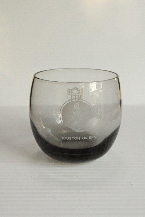 HOUSTON OILERS NFL Tumbler, Vintage Smoked Glass Barware, Houston Football Team, Vintage glass, vintage barware,gift for him,man cave gift