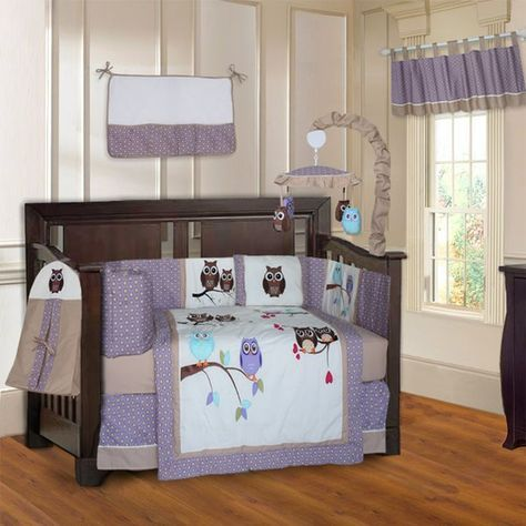 The BabyFad Owl 10 Piece Crib Bedding Set features a scenery of beautifully embroidered owls, combined with a super cute printed fabric. The color combination is perfect for a baby boy or baby girl nursery.