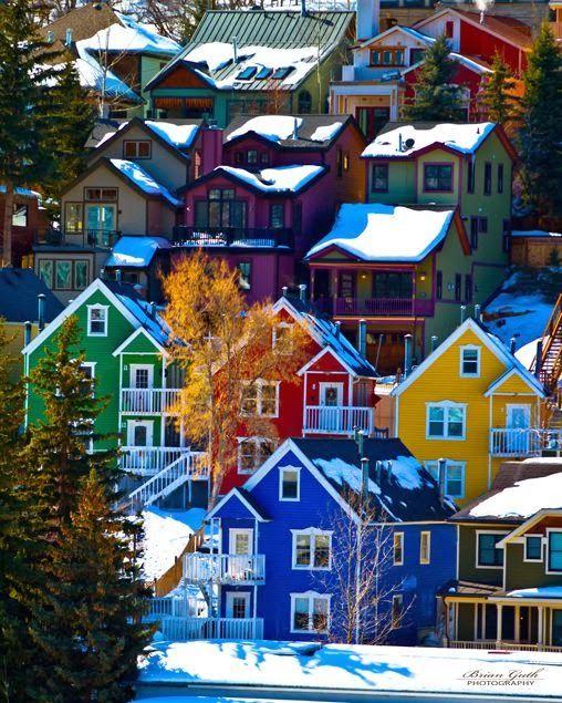 The colorful houses of Park City, Utah. Blue, green, orange, yellow. Snow.  Feb 2014