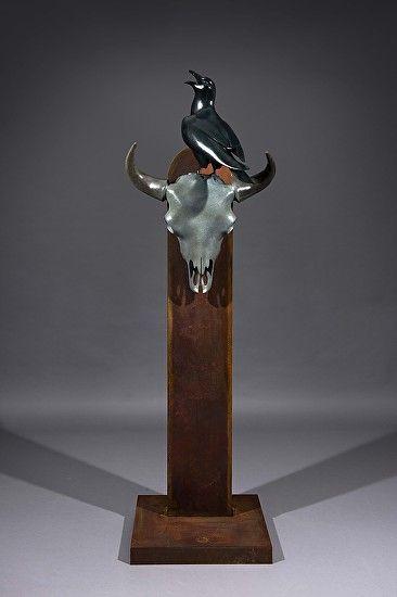 Raven by Simon Gudgeon Bronze ~ 98cm (213cm on stand) x 66