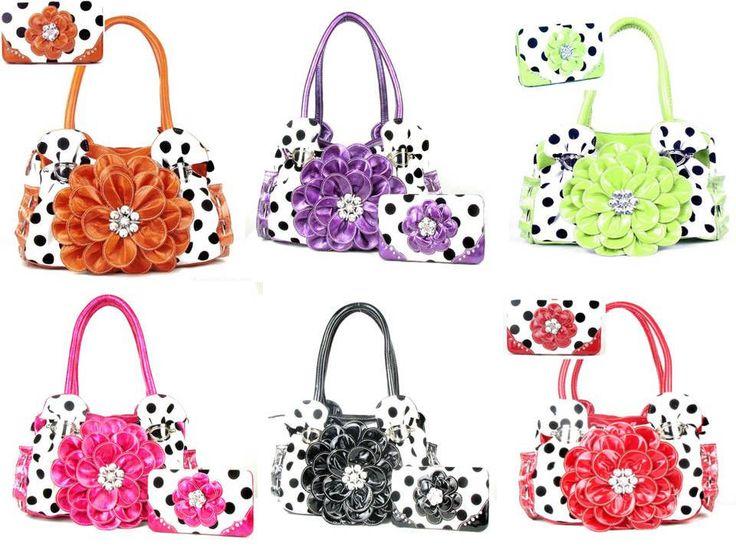 Polka Dot Flower Rhinestone Purse W Matching Wallet #HandbagsBlingMore #Hobo In Stock 62.99