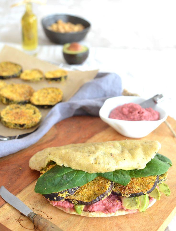 Crusty Eggplant, Beetroot Hummus & Avocado Pita {Gluten Free, Vegan}