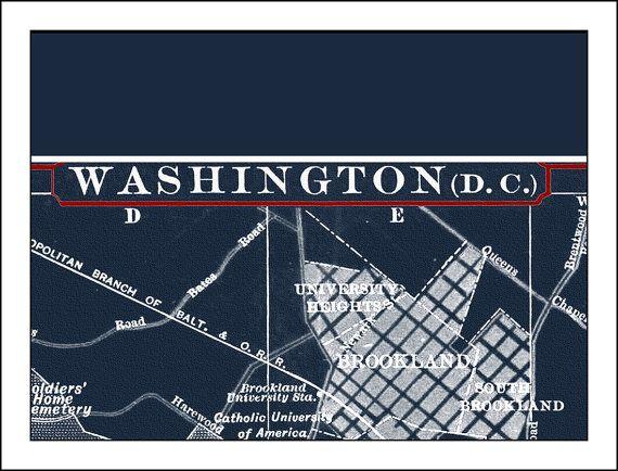 Washington DC Map Washington dc Print by WaterColorMaps2 on Etsy, $30.00