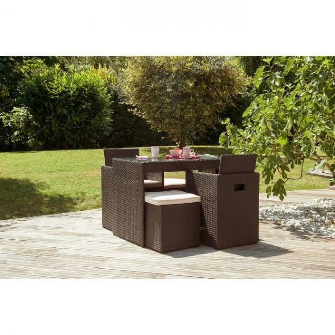 Ensemble De Jardin Encastrable 4 Places En Resine Tressee