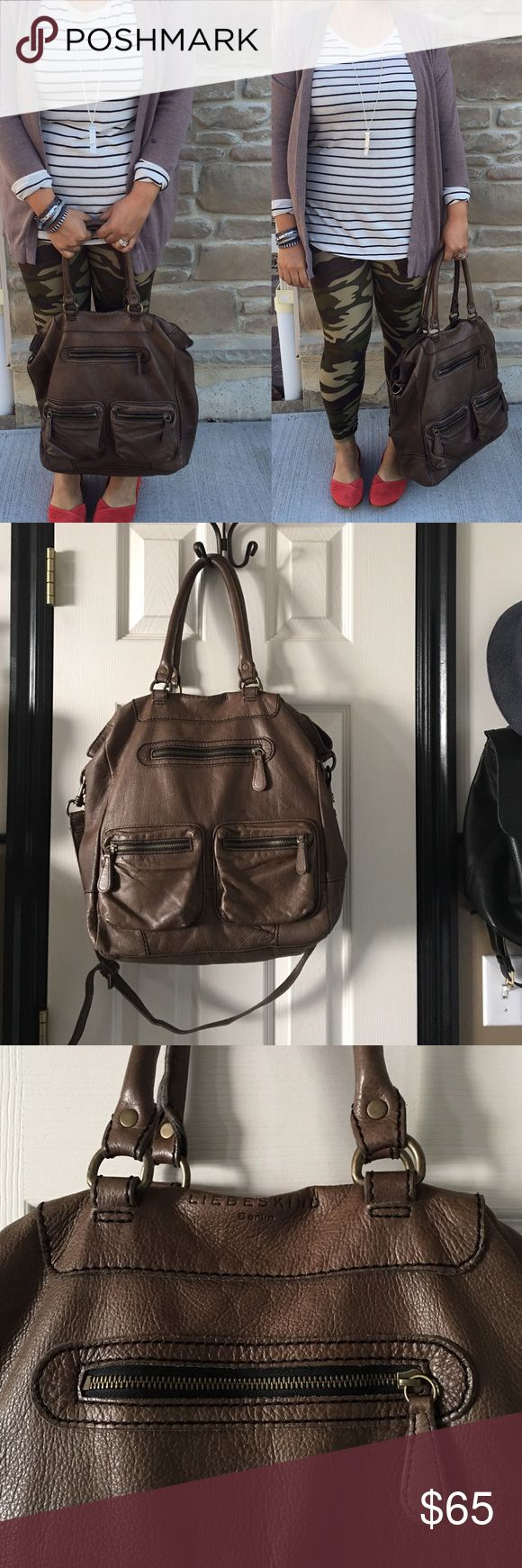 """Liebeskind Large Leather Brown Tote bag I seriously love this bag. Liebeskind is a favorite leather brand of mine that makes high quality leather!! This bag can hold it all! Measures about 15"""" x 14"""" x 7"""". Handles are measures about 9"""" tall. Strap is about 36""""-45"""" great bag!! It's a nice brown cognac color Liebeskind Bags Shoulder Bags"""