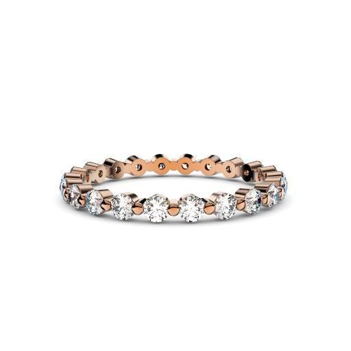 Women's Diamond Bubble 18ct Rose Gold Ring – 2mm