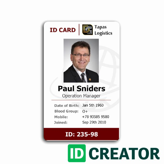 Employees Id Card Template In 2020 With Images Employee Id