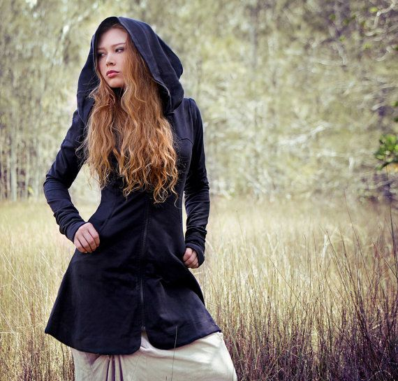 Black women hoodie, long classy gorgeous silhouette with a generous hood, Organic cotton by Shovava $129.00
