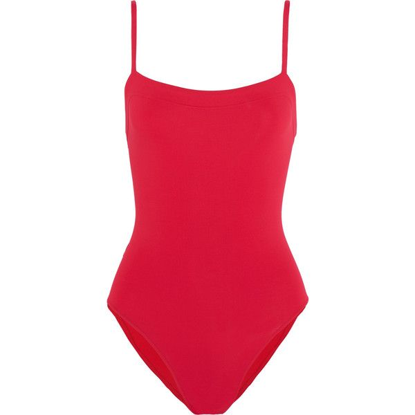 Eres Les Essentiels Aquarelle swimsuit ($310) ❤ liked on Polyvore featuring swimwear, one-piece swimsuits, swimsuit, red, padded swimsuit, retro swimwear, retro style one piece swimsuits, red swimsuit and red bathing suit