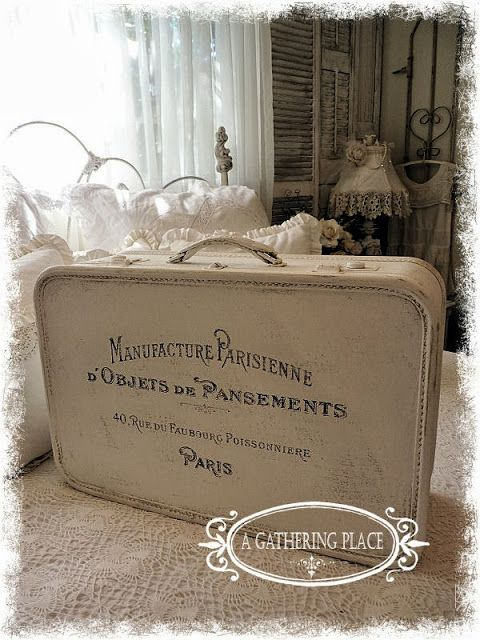 Sweet Vintage Case - Repainted, Distressed and Transfer Applied - LOVE!!!