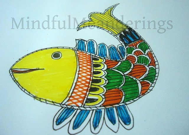 Simple Madhubani Fish in 12 easy steps