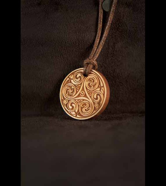 Celtic Art Spiral Pendant, Etched in Cherry Wood from The Book of Kells, made in Scotland.