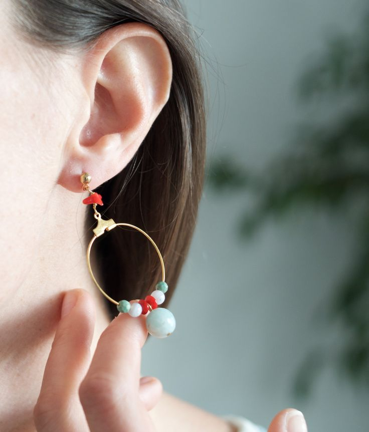 Tilda e l'ortica - Afride - earrings with light blue Amazzonite and Agate, red Corals and Crisoprasio stones