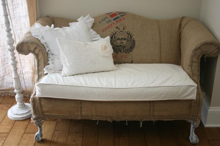 burlap coffee sack love seat sofa, Palisade Homes, Custom home builder, Portland, Oregon, shabby chic sofa, painter drop cloth reupholster fabric