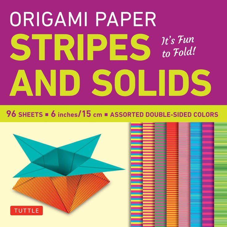 This origami pack contains 96 high-quality origami sheets printed with colorful stripes and solids patterns.   These striking patterns were chosen to enhance the creative work of origami artists and paper crafters. The pack contains 8 different designs, and there's enough paper here to assemble amazing modular origami sculptures, distribute to students for a class project, or put to a multitude of other creative uses.