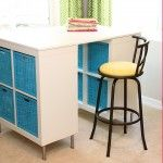 Make a counter height Craft Table (from 2 shelves, a table top, and 8 legs)Sewing Room, Crafts Desks, Sewing Tables, Diy Crafts, Crafts Room, Counter Heights, Crafts Tables, Homemade Crafts, Craft Tables