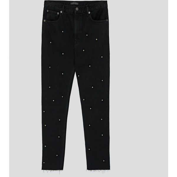 JEANS BLACK MESH PEARLS - Ver todo-JEANS-MUJER   ZARA España ❤ liked on Polyvore featuring jeans and pearl jeans