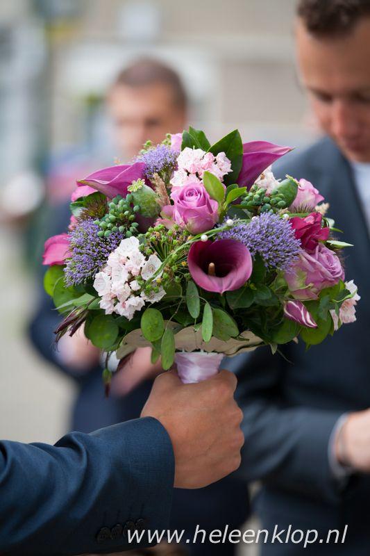 Bruiloft Bruidsboeket roze paars