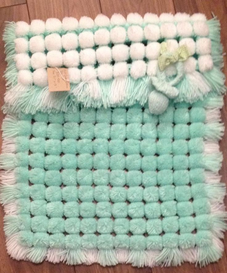 Pom Pom Blanket In Mint Green Looming Pinte