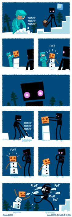 minecraft enderman and a snow golem
