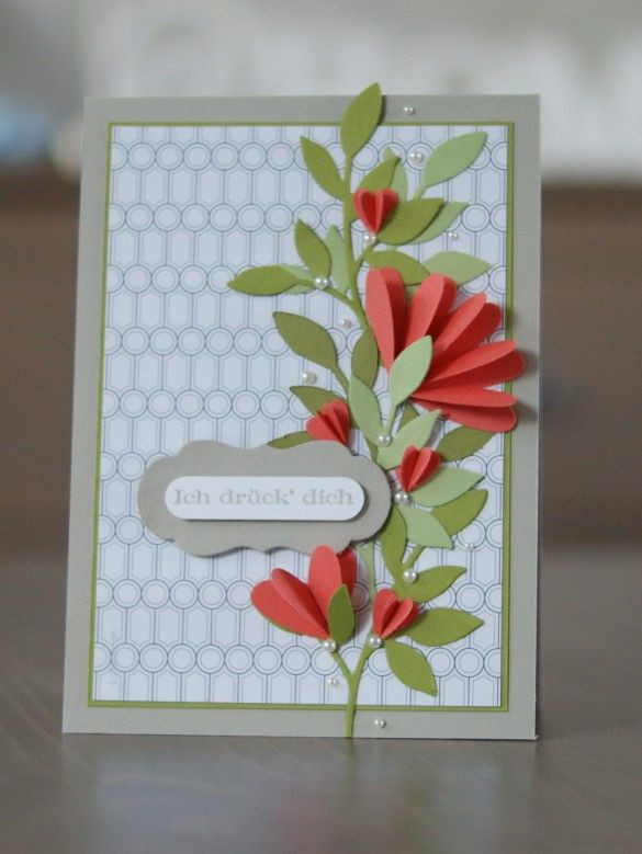 Stampin' Up!  Punch art using scored & folded hearts from the triple heart punch