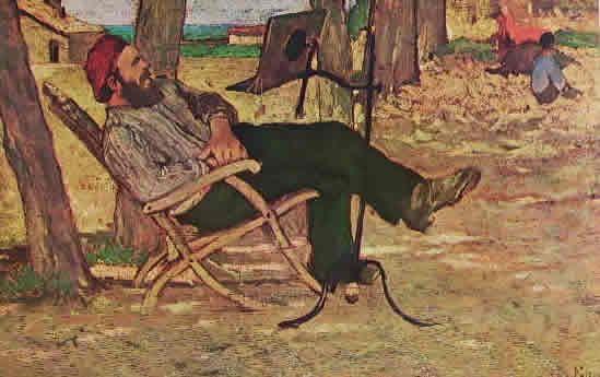 GIOVANNI FATTORI-Diego Martelli a Castiglioncello, cm 13 x 20 Milano collezione Jucker