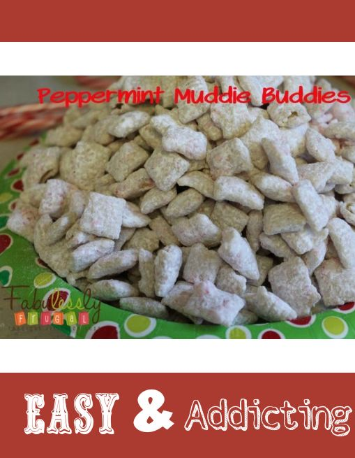 might even try sprinkling some crushed candy cane over the muddie buddies right after you spread them on the baking sheet for a more holiday look or pop of color.