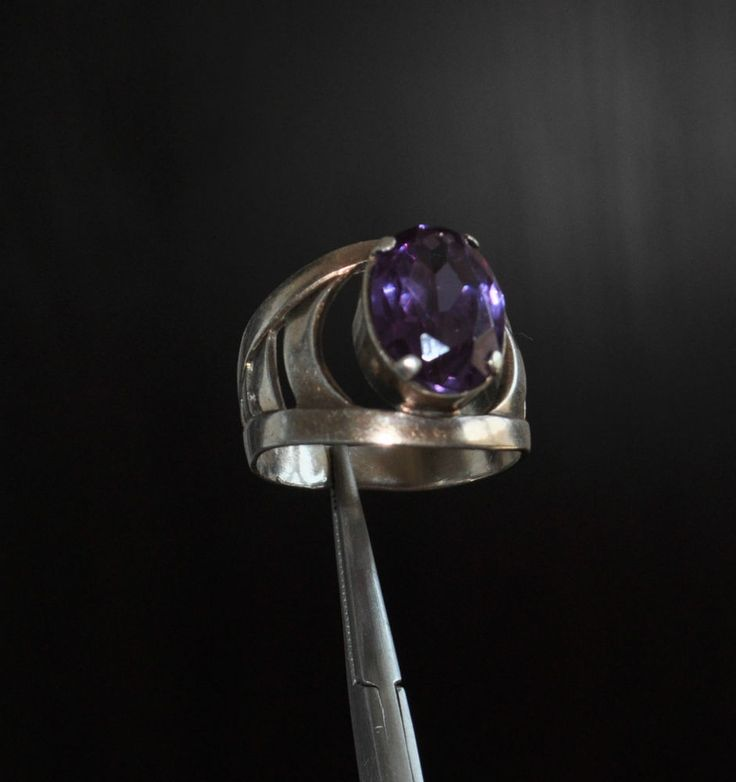SOVIET ERA ANTIQUE STERLING SILVER  BEAUTIFUL RING  WITH AMETHYST? stone size approx.: 19x10х8 mm. EXELLENT VINTAGE CONDITION. (.875 marked with soviet star and hammer) you buy what the picture US SIZE:  8   weight approx.: 6.21 gr.