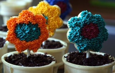 "Ice Cream Cone ""Flower Pot"" Cupcakes way too darn cute!Parties Ideas"
