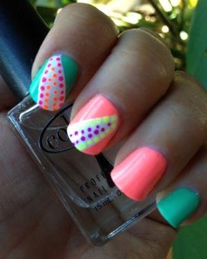 Polka Dots, Nails Art, Cute Nails, Nails Design, Summer Nails, Nails Polish, Neon Colors, Neon Nails, Bright Nails
