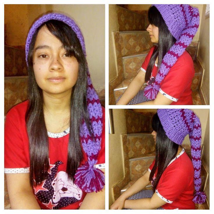 Gorro estilo nomo, tejido a crochet.