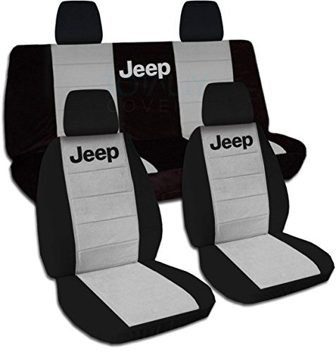 Jeep Wrangler JK (2011 to 2016) Two-Tone Seat Covers with Jeep: Black and Gray – Full Set (21 Colors Available)